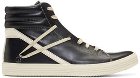 Rick Owens Black and Off-White Geothrasher High Sneakers