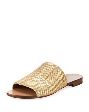Michael Kors Byrne Metallic Woven Flat Slide Sandal, Gold