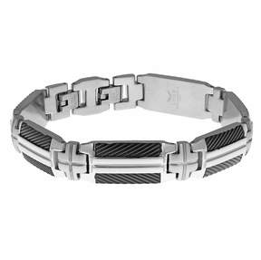 Lynx Men's Stainless Steel & Black Ion Plated Bracelet