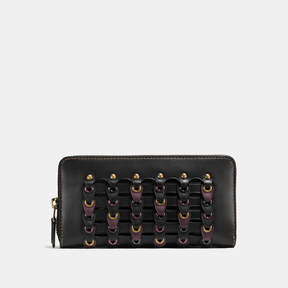 COACH Coach Accordion Zip Wallet With Link - BRASS/BLACK MULTI - STYLE
