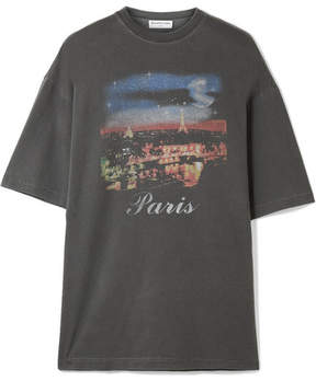 Balenciaga Oversized Printed Cotton-jersey T-shirt - Anthracite