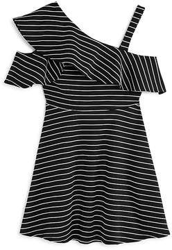 Bardot Junior Girls' Senna Striped Asymmetrical Dress - Big Kid