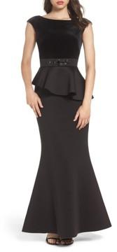Eliza J Women's Cap Sleeve Mixed Media Peplum Gown