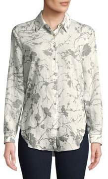 T Tahari Printed Button-Down Shirt