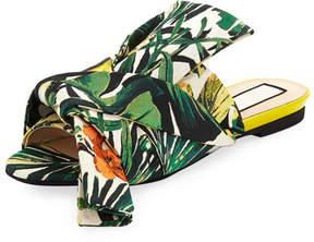 No.21 No. 21 Palm Leaf Jacquard Flat Bow Slide Sandal