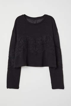 H&M Fine-knit Sweater with Lace - Black