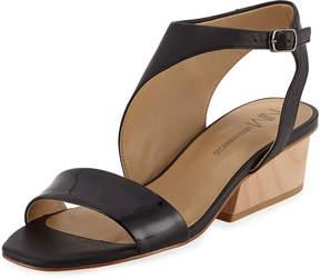 Neiman Marcus Cale Asymmetrical Cutout Sandal, Black