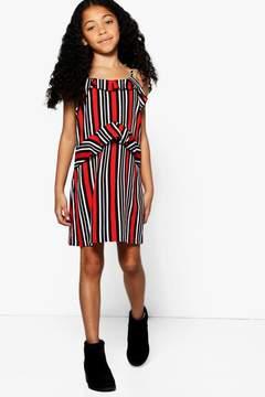 boohoo Girls Mono Stripe Ruffle Detail Cami Dress