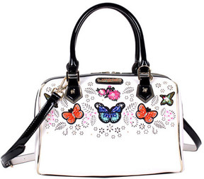 Women's Nicole Lee Visola Butterfly Embroidered Boston Shoulder Bag