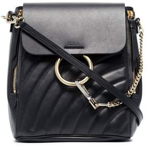 Chloé navy faye small leather backpack