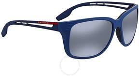 Prada Polarized Grey Mirror Gradient Silver Square Sunglasses PS 03TS B522F2