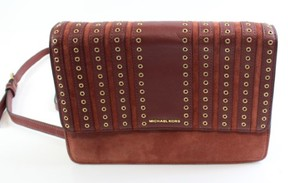Michael Kors Red Leather Brooklyn Grommet Large Cross Body Purse - REDS - STYLE