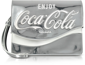 Pinko Solitario Silver Laminated Eco Leather Clutch