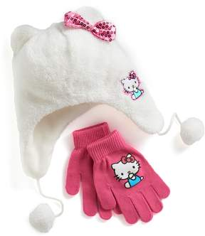 Hello Kitty Girls 4-16 Faux-Fur Plush 3D Hat & Gloves Set