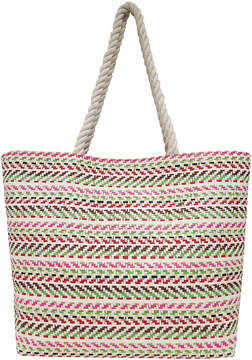 Asstd National Brand Multi Stripe Straw Large Tote Bag
