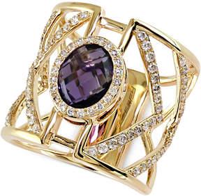 Effy Geo Diamond (5/8 ct. t.w.) and Amethyst Ring (2-7/8 ct. t.w.) in 14k Gold