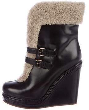 Marc by Marc Jacobs Shearling-Trimmed Leather Booties