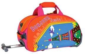 J World J-World Paris Kids Rolling Duffel Bag - Orange/Blue