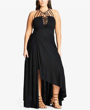 City Chic Trendy Plus Size Strappy Halter Maxi Dress