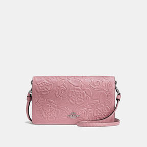 COACH FOLDOVER CROSSBODY CLUTCH IN GLOVETANNED LEATHER WITH TEA ROSE TOOLING - LIGHT ANTIQUE NICKEL/DUSTY ROSE
