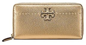 Tory Burch Mcgraw Metallic Zip Continental Wallet - GOLD - STYLE