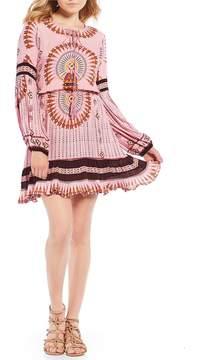 Chelsea & Violet Printed Lace-Up Ruffle Hem Dress