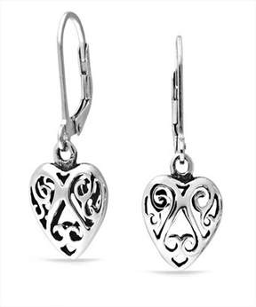 Celtic Bling Jewelry Cut Out Swirl Heart Sterling Silver Dangle Earrings.