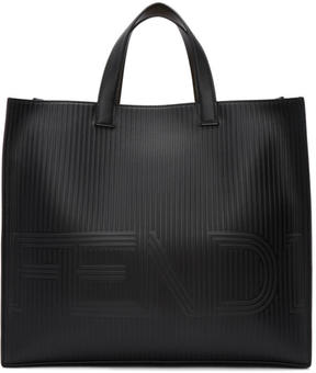 Fendi Black Stripe Logo Tote
