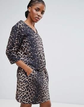 B.young Waist Tie Leopard Dress