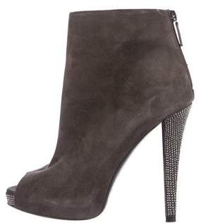 Halston Suede Embellished Booties