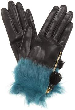 Prada Fur-trimmed leather gloves