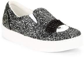 Chiara Ferragni Women's Wink Glitter Leather Slip-On Sneakers