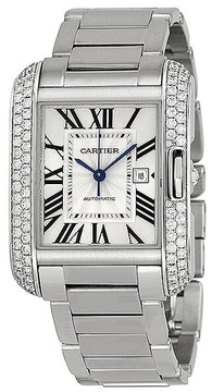 Cartier Tank Anglaise Silver Dial 18kt White Gold Diamond Ladies Watch