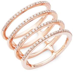 Ef Collection Women's Spiral Diamond & 14K Rose Gold Ring