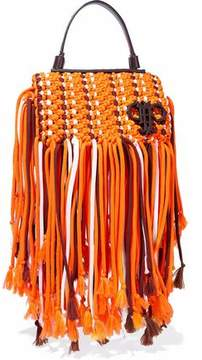 Emilio Pucci Fringed Leather-Trimmed Macramé Shoulder Bag