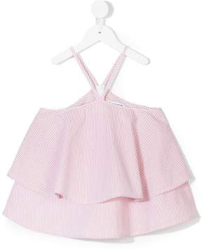 Dondup Kids striped ruffle layer top