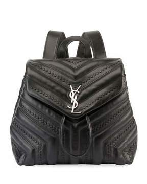 Saint Laurent Loulou Monogram Small Quilted Black Studded Leather Backpack - BLACK - STYLE