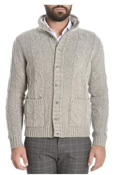 H953 Men's Grey Wool Cardigan.