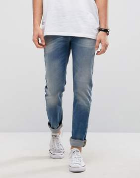 Benetton Slim Fit Jeans in Light Washed Denim With Distressing