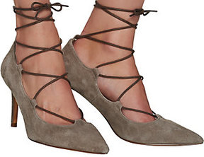 Sole Society As Is Suede Pointed Toe Lace-up Pumps - Madeline