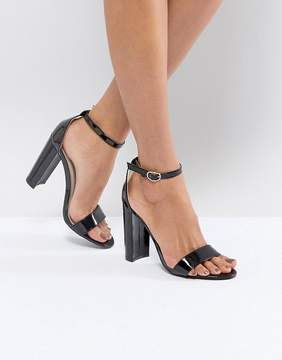 Glamorous Black Barely There Block Heeled Sandals