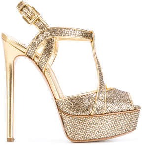 Casadei textured T-bar platform sandals