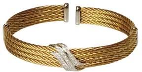 Charriol Metallic Stainless Steel & 18K White Gold Diamond Station Bracelet