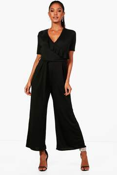 boohoo Frill Wrap Front Culotte Jumpsuit