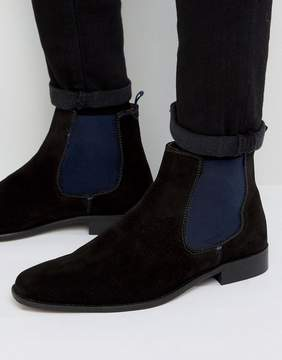 Dune Marky Chelsea Boots In Black Suede