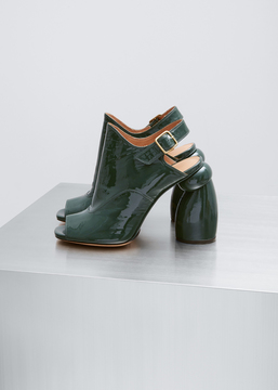 Dries Van Noten Bottle Green Patent Curve Heel Peep Toe