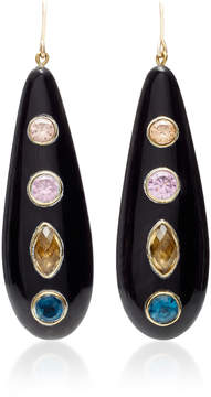 Ashley Pittman Upendo Whiskey Quartz Pink Amethyst Blue Spinel and Orange Zircon Earrings