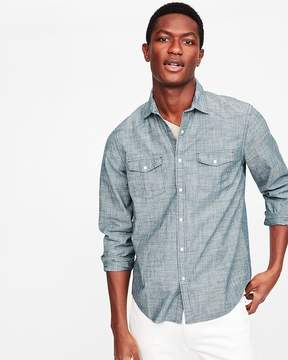 Express Slim Chambray Western Cotton Shirt