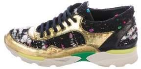 Chanel Tweed Hologram CC Sneakers