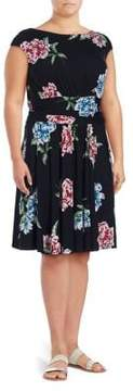 Context Plus Floral Printed Pleated Dress